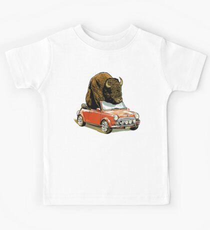 Bison in a Mini. Kids Tee