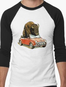 Bison in a Mini. Men's Baseball ¾ T-Shirt