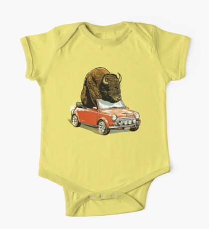Bison in a Mini. One Piece - Short Sleeve