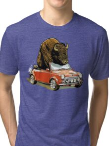 Bison in a Mini. Tri-blend T-Shirt