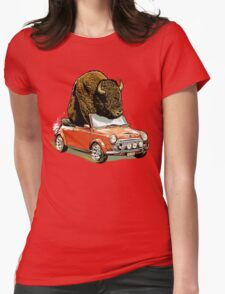Bison in a Mini. Womens Fitted T-Shirt