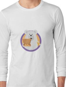Polar Bear with Pizza in cirlce Long Sleeve T-Shirt