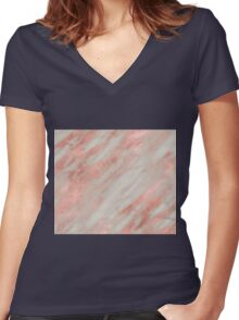Gallicano - polished rose gold on gray marble Women's Fitted V-Neck T-Shirt