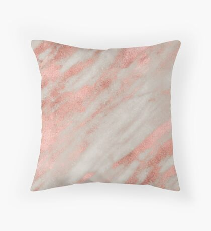 Gallicano - polished rose gold on gray marble Throw Pillow