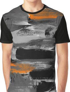 Black Gray Orange Messy Art Graphic T-Shirt
