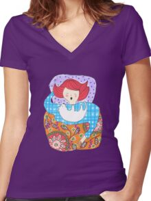 Woman with a tiny dog Women's Fitted V-Neck T-Shirt