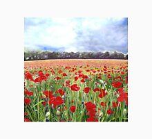 Poppies - Poppy Fields Art With Blue Sky Unisex T-Shirt