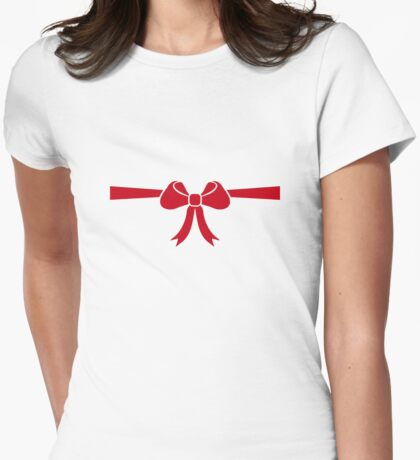 Red bow gift Womens Fitted T-Shirt
