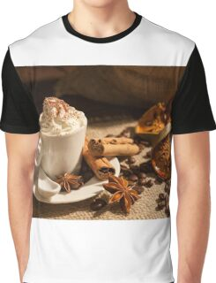 Close-up of coffee with whipped cream and cocoa powder Graphic T-Shirt