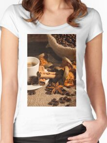Close-up of coffee cup with cinnamon and star anise Women's Fitted Scoop T-Shirt