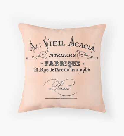 Vintage Antique Shop Sign Parisian Throw Pillow