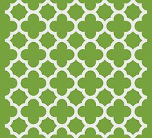Chartreuse and White Quatrefoil Pattern by Greenbaby