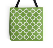 Chartreuse and White Quatrefoil Pattern Tote Bag