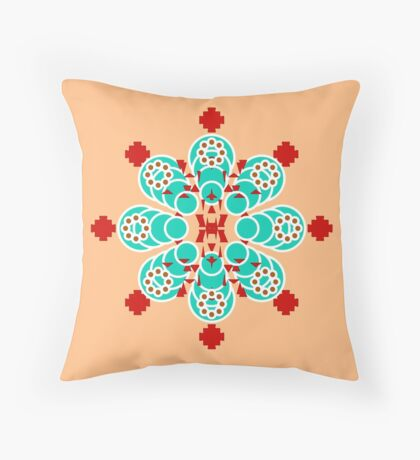 Eight point Mandala, Turquoise and Peach Throw Pillow