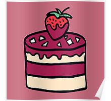 Cake with strawberry. Cartoon illustration. Poster