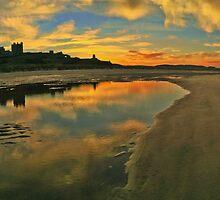 Low Tide at Bamburgh Castle. by David Alexander Elder