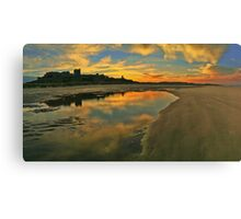 Low Tide at Bamburgh Castle. Canvas Print