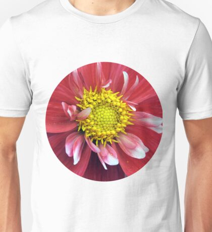 Red and Yellow Dahlia. Unisex T-Shirt