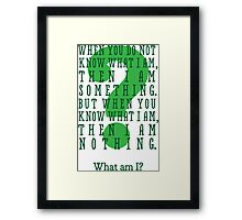 Riddle me this... (tall) Framed Print