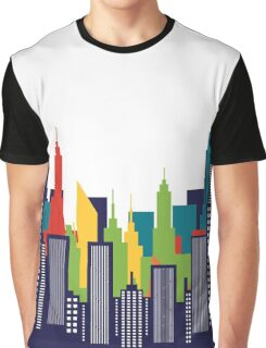 Modern American City Skyline Silhouette Graphic T-Shirt