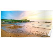 Sunset over Bude beach, Cornwall Poster