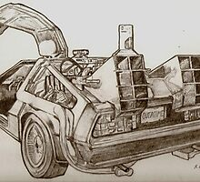 Delorean time machine drawing by RobCrandall