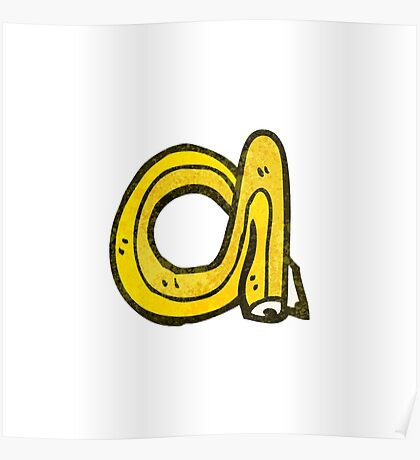 cartoon pencil shaped letter a Poster