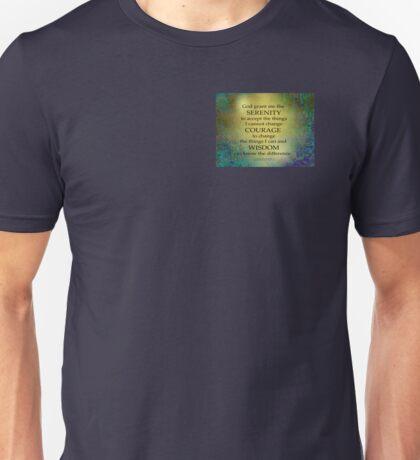Serenity Prayer Gold on Blue-Green Unisex T-Shirt