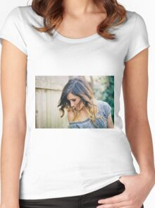 Mindy White Graphic Tee Women's Fitted Scoop T-Shirt