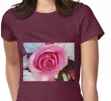 Pink Rose and Ribbon Womens Fitted T-Shirt