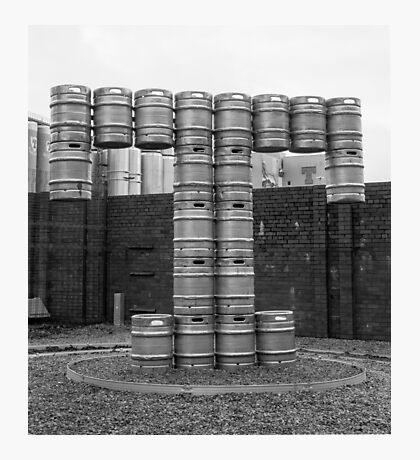 Beer kegs welded together to make a T Photographic Print