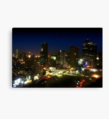 Bangkok by Night - Central Silom District, Thailand Canvas Print
