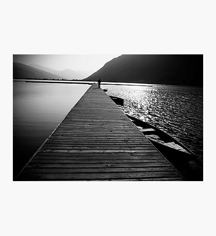 Wooden lake pier Photographic Print