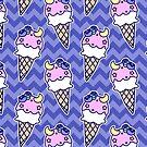Blueberry Icecream Cone Chevron Pattern by SaradaBoru