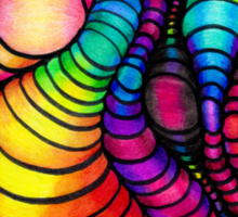 Colorful Tube Worms - Op Art Sticker
