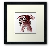 Monochromatic Pit Bull Dog Watercolor Painting Framed Print