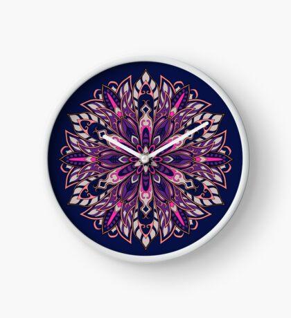 Purple Complicated Mandala. Tribal style. Clock