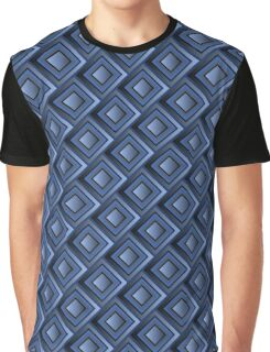 Blue Squared Pattern Graphic T-Shirt