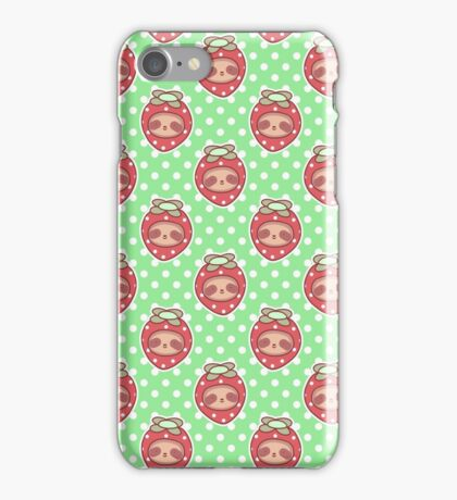 Strawberry Sloth Face Pattern iPhone Case/Skin