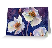 White Watercolor Flowers Greeting Card