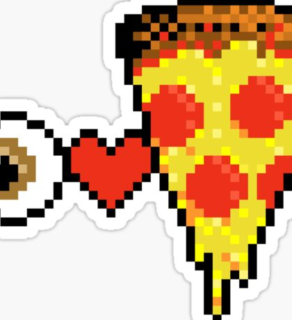I Heart Pizza - Pixels Sticker