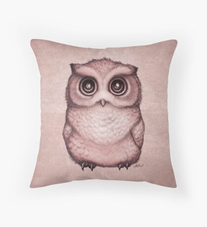 The Little Owl ~ Peach Throw Pillow