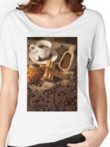 Cup of coffee with cinnamon and dried orange fruit Women's Relaxed Fit T-Shirt