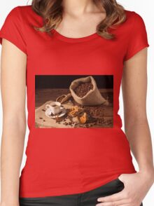 Coffee cup with cinnamon, star anise and dried orange fruit Women's Fitted Scoop T-Shirt