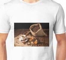 Coffee cup with cinnamon, star anise and dried orange fruit Unisex T-Shirt