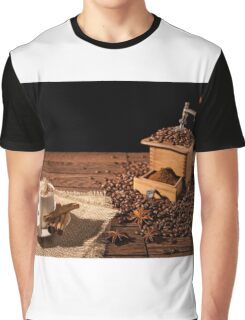 Coffee cup with whipped cream and coffee grinder Graphic T-Shirt