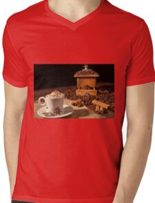 Coffee cup with whipped cream, cocoa powder and star anise Mens V-Neck T-Shirt