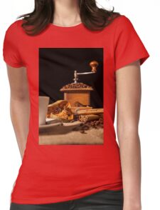Close-up on dried orange fruit and cinnamon and coffee beans Womens Fitted T-Shirt