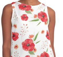 Field Flowers Red Poppies and Barley Contrast Tank