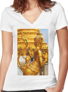 Golden kinnara statues in the Grand palace Bangkok,Thailand Women's Fitted V-Neck T-Shirt